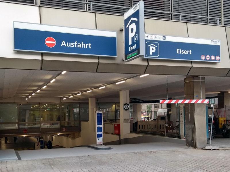 Einfahrt der Tiefgarage Eisert in Erlangen